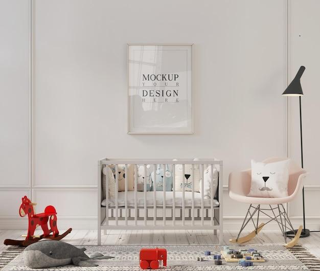 Макет рамки плаката в милом интерьере детской комнаты