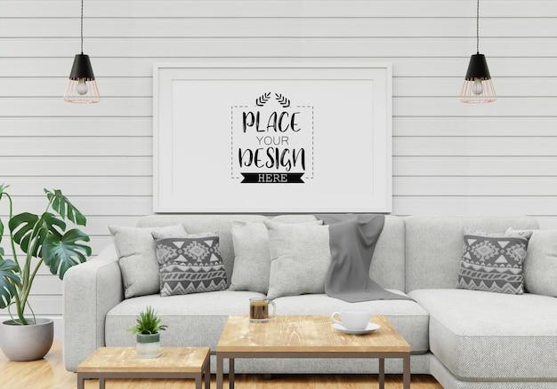 Макет рамки плаката в гостиной Бесплатные Psd