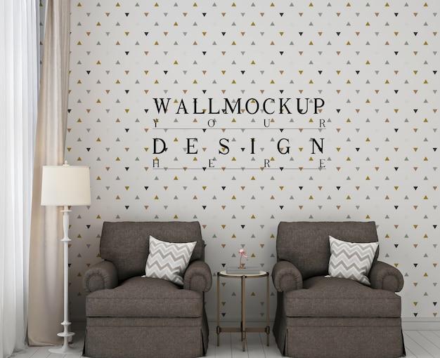 Макет рамки плаката в современной спальне с 2 диванами