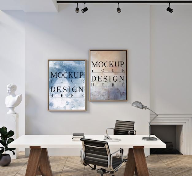 현대 현대 사무실 공간에서 포스터 프레임 모형