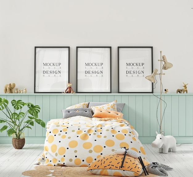 Макет рамки плаката в детской спальне пастельных тонов