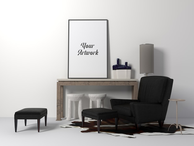 部屋のポスターフレームモックアップ