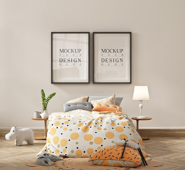 간단한 아기 침실의 포스터 프레임 모형
