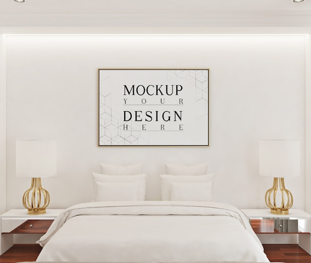 Макет рамки плаката в белой спальне