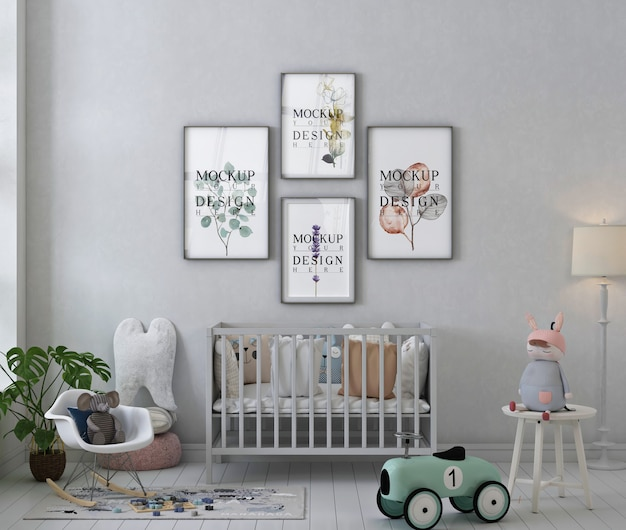 Poster frame mockup in interior of baby's room