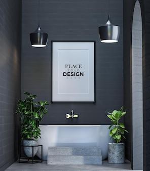 Poster frame mockup interior in a bathroom