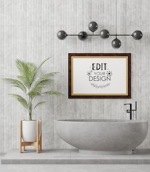 Poster frame mockup interno in un bagno