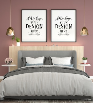 Poster frame mockup interni in una camera da letto