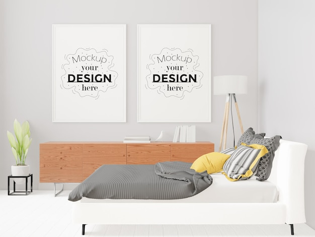 Poster frame mockup interni in una camera da letto