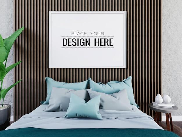Poster frame mockup interior in a bedroom