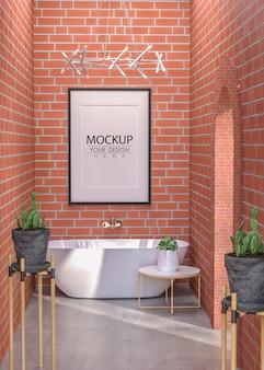浴室のポスターフレームモックアップインテリア