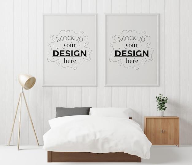침실에 포스터 프레임 목업 인테리어