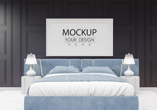 침실에 포스터 프레임 목업 인테리어 무료 PSD 파일