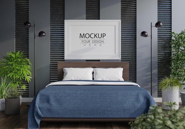 Постер рамка мокап интерьера в спальне