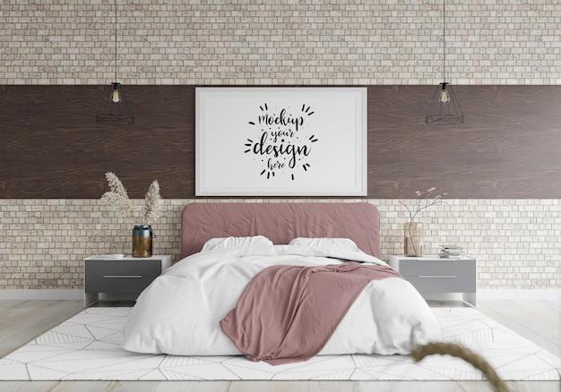 침실에서 포스터 프레임 모형 인테리어