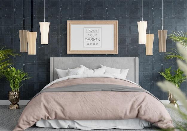 寝室のポスターフレームモックアップインテリア