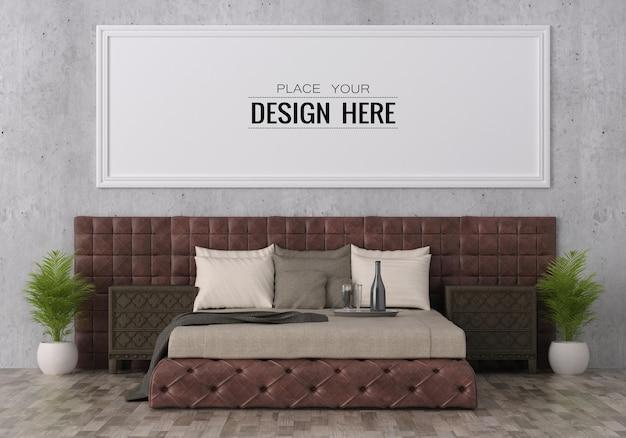 Постер рамка мокап интерьера в спальне Premium Psd