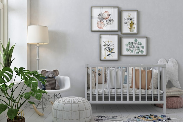 Poster frame mockup in interior of nursery room with rocking chair