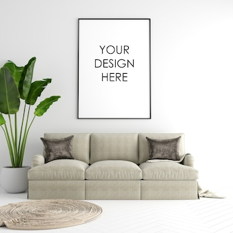 Poster frame mockup interior with decorations