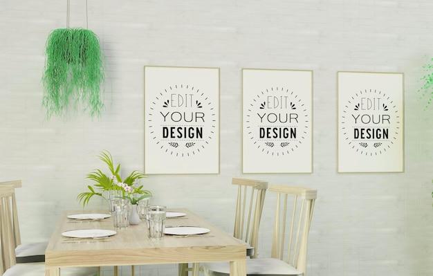 Poster frame mockup on kitchen room interior