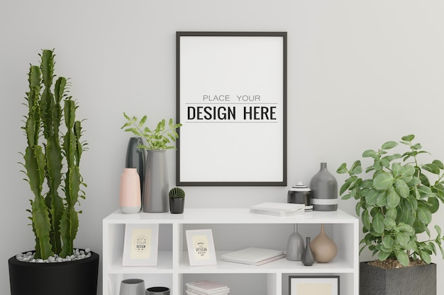 Poster frame mockup in living room interior
