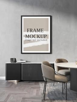 Poster frame mockup on living room wall