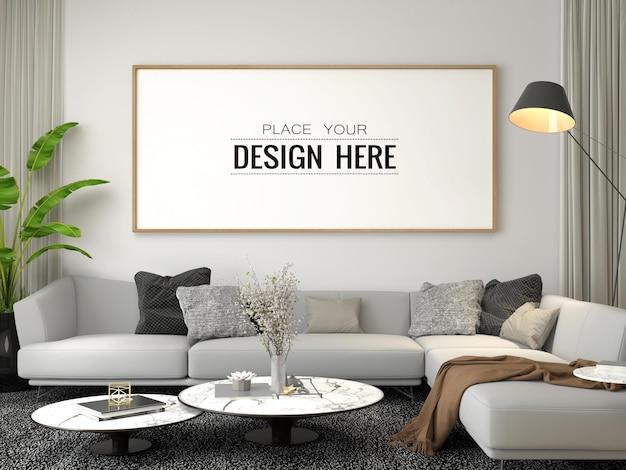 Poster frame mockup in living room Premium Psd