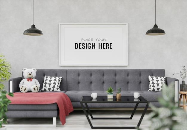 Poster frame mockup in living room