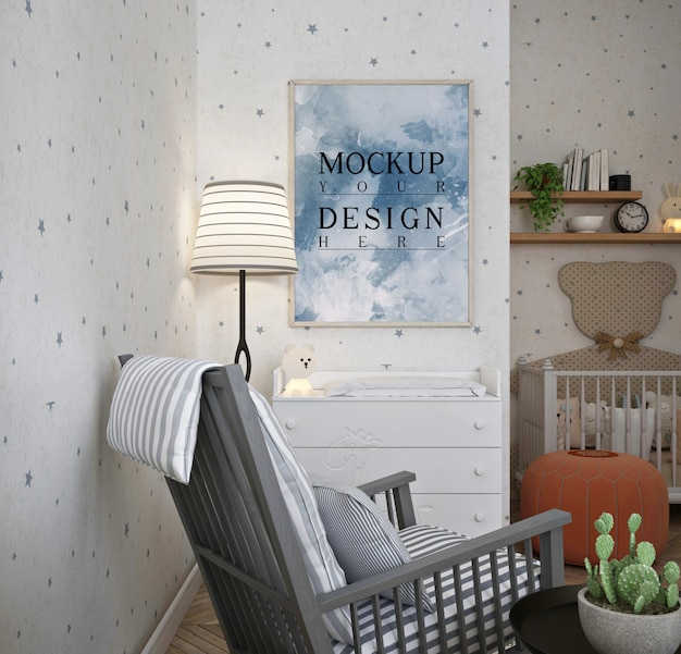 Poster frame mockup in modern classic baby bedroom with rocking chair