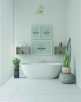 浴室の内部のポスターフレームモックアップ