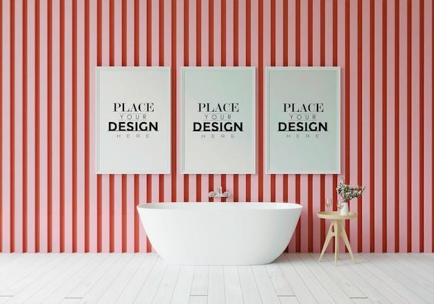 Макет рамки плаката на интерьере ванной комнаты
