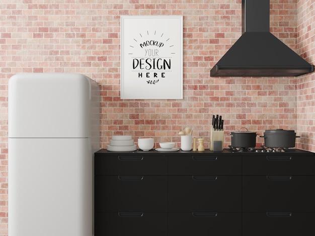 Макет рамки плаката на интерьере комнаты кухни