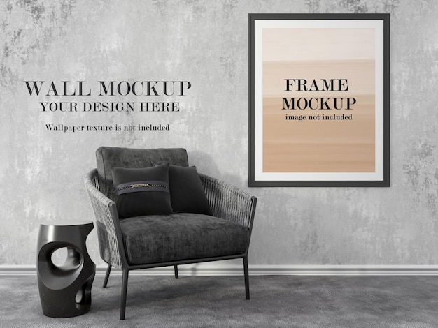 モックアップ壁のポスターフレームモックアップ