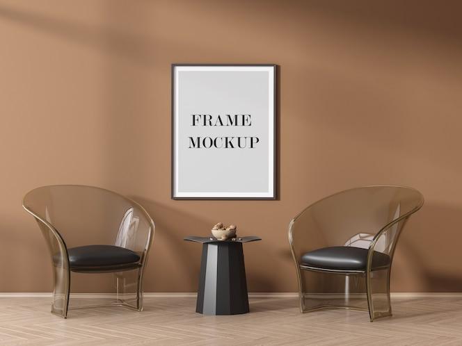 그림자와 함께 주황색 벽에 포스터 프레임 모형
