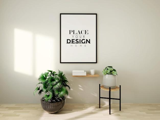 Мокап рамки плаката на стене с растением