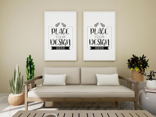 植物と壁のポスターフレームモックアップ