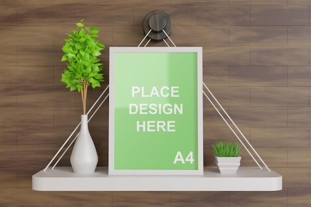 Макет рамки плаката на деревянном настенном столе с деревянной вазой