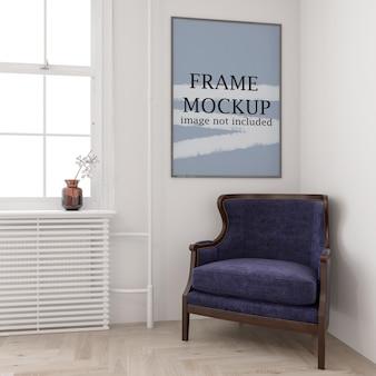 흰 벽에 포스터 프레임 모형