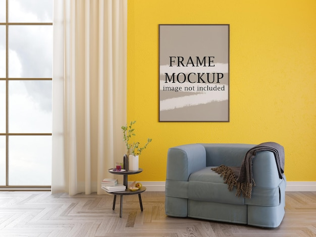Макет рамки плаката на желтой стене