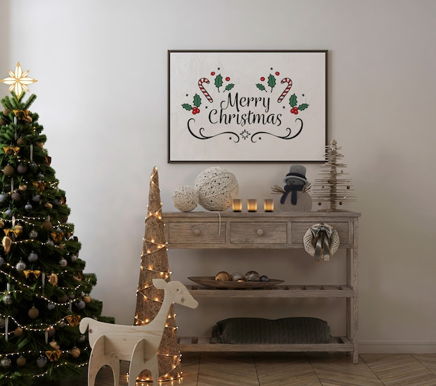Poster frame mockup in vintage interior with christmas tree and decoration