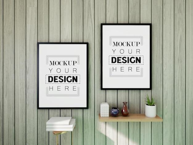 Poster frame mockup sul muro con pianta