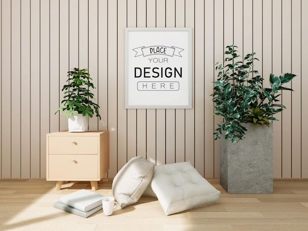 Poster frame mockup on the wall with plant