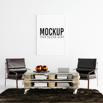 Poster frame mockup in white interior with decoration