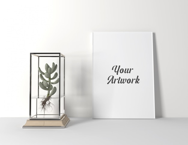 Poster frame mockup with cactus