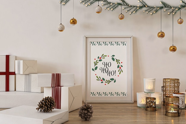Poster frame mockup with christmas  decoration and presents