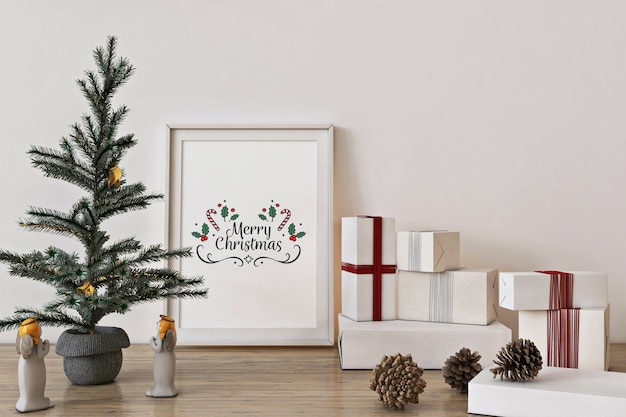 Poster frame mockup with christmas tree, decoration and presents