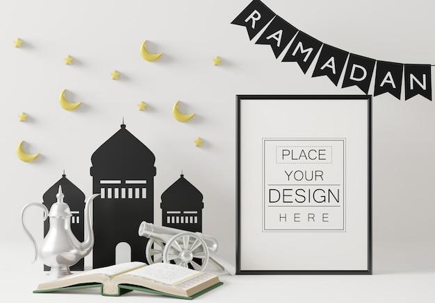 インテリアラマダン装飾リビングルームとポスターフレームモックアップ
