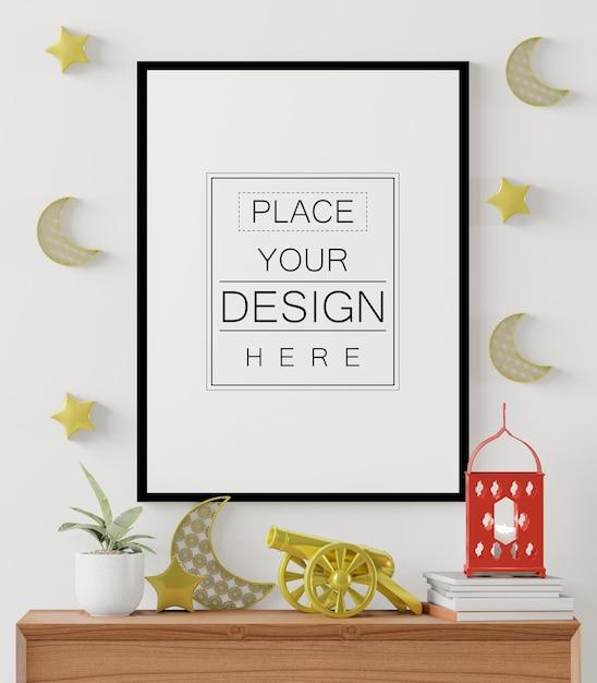 Poster frame mockup with interior ramadan decoration living room