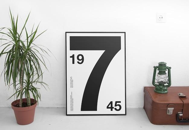 Мокап рамки плаката с горшечным растением