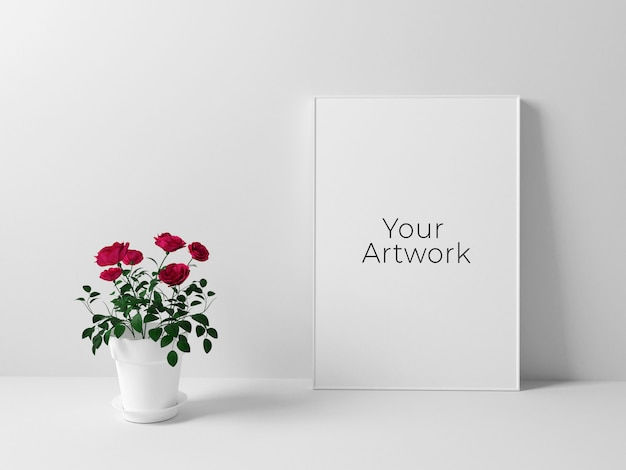 Poster frame mockup with roses